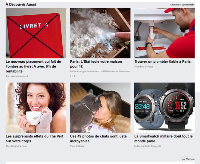 Des publicités du module Taboola apparaissent sur le site news.suavelos.eu.