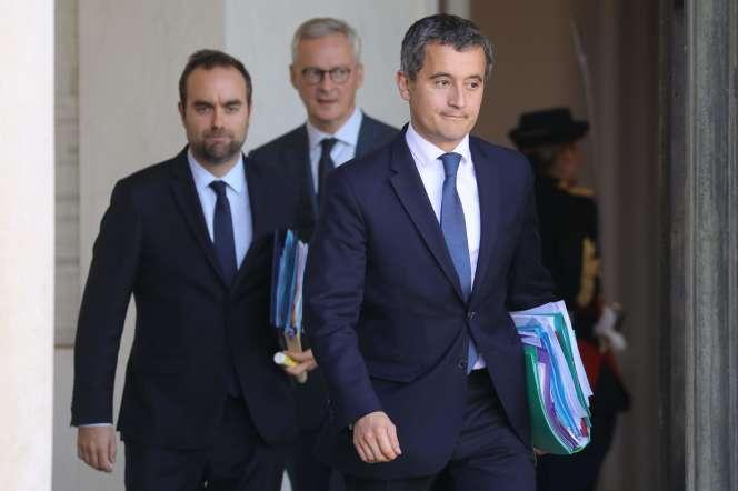 Sébastien Lecornu, Bruno Le Maire et Gérald Darmanin au palais de l'Elysée à Paris, le 11 septembre.