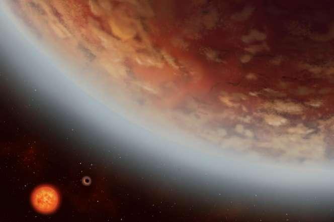 Image d'artiste montrant l'exoplanète K2-18 B et sa voisine récemment découverte K2-18C, en orbite autour de l'étoile naine rouge K2-18.