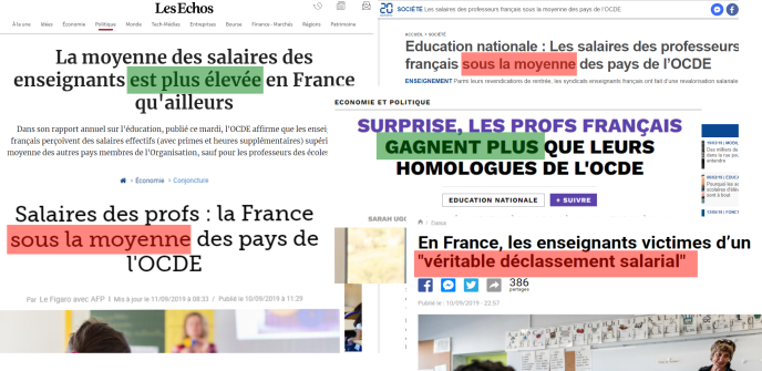 Des titres de presse contradictoires se sont succédé ces derniers jours au sujet de la rémunération des enseignants.