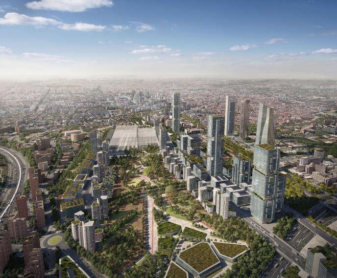 Vue d'artiste du projet, qui prévoit des logements, des bureaux, des stations de métro, un parc, des commerces...