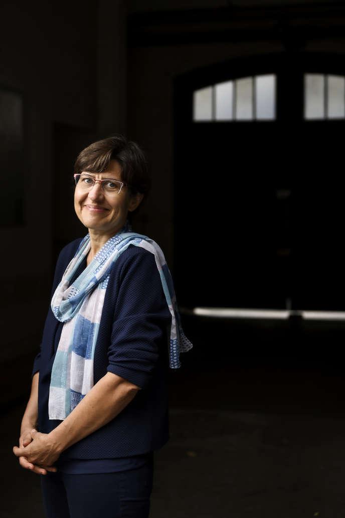 La paléoclimatologue Valérie Masson-Delmotte, directrice de recherche au Commissariat à l'énergie atomique et coprésidente du Groupe d'experts intergouvernemental sur l'évolution du climat, photographiée dans la cour d'AgroParisTech, le 12 septembre 2019, à Paris.