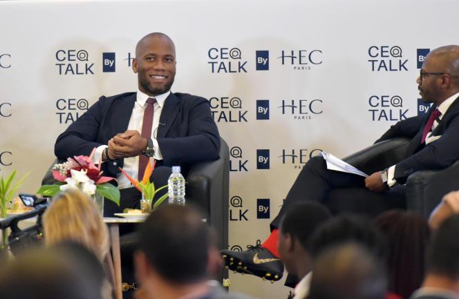 L'ancien international de football Didier Drogba lors d'une conférence de presse à Abidjan, le 12 septembre 2019.