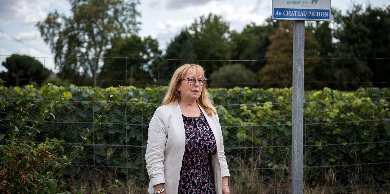 Béatrice de Francois, maire de Parempuyre,  en face du site du projet de construction du collège qui se trouve à 20 m des vignes , 10 septembre 2019