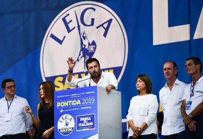 Matteo Salvini dans la commune lombarde de Pontida, le 15 septembre.