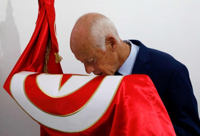 Kaïs Saïed après les résultats du premier tour, à Tunis, le 15 septembre.