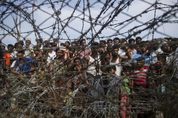 Des réfugiés rohingya dans un camp temporaire dans l'Etat de Rakhine (ou Arakan), enBirmanie,le 25 avril 2018.