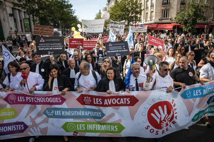 Manifestation contre la réforme des retraites, à Paris, le 16 septembre.