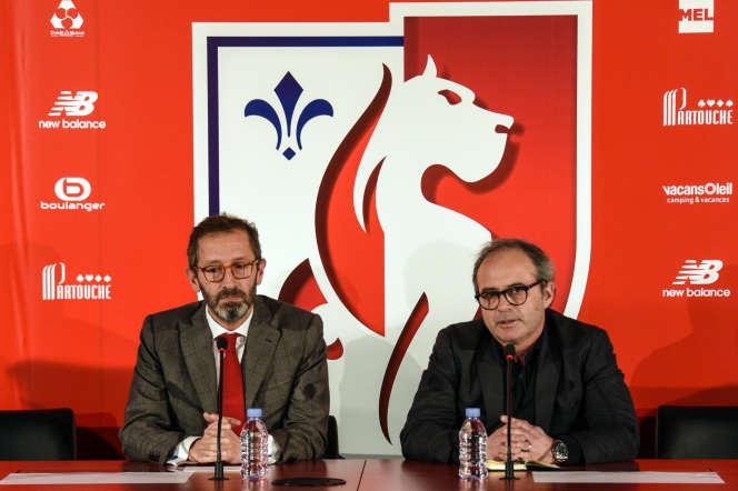Luis Campos (à droite), en février 2017, au côté du directeur général du LOSC,Marc Ingla.