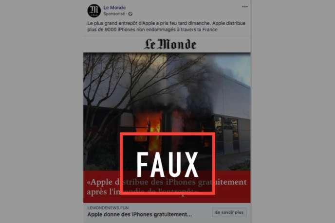 de fausses pages facebook et faux sites  u00ab le monde  u00bb diffusent une arnaque aux iphones gratuits