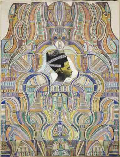 «Les cercles spirites et spiritualistes témoignent d'une fascination particulière pour la civilisation de l'Egypte ancienne. Dès 1925, des références égyptiennes commencent à apparaître dans les œuvres d'Augustin Lesage, lequel entreprend en 1939 un voyage qui le mène au Caire, puis à Louxor, Memphis, puis dans la vallée des Rois et des Reines. Nombreuses sont les toiles qui portent des symboles s'apparentant à une écriture hiéroglyphique ou qui représentent d'anciennes reines d'Egypte comme Nefertiti, dont le visage hante les œuvres ultimes de l'artiste.»