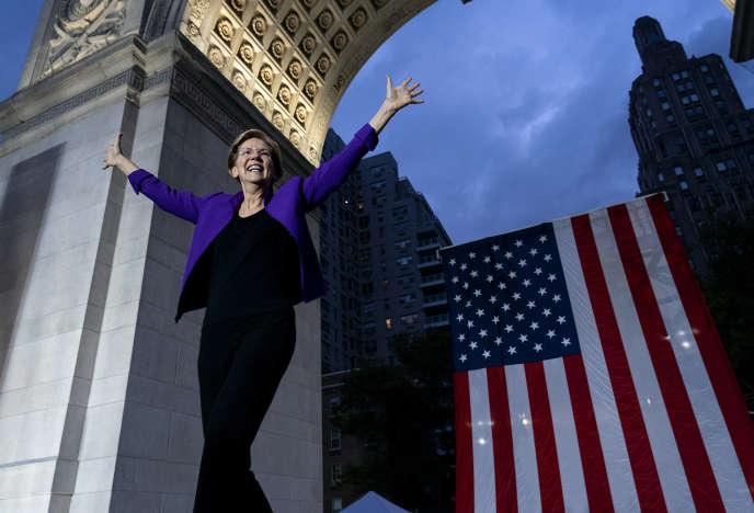 La candidate démocrate Elizabeth Warren, lors d'un rassemblement à Washington Square Park, à New York, le 16 septembre.