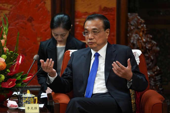 Le premier ministre chinois, Li Keqiang, à Pékin, le 10 septembre.
