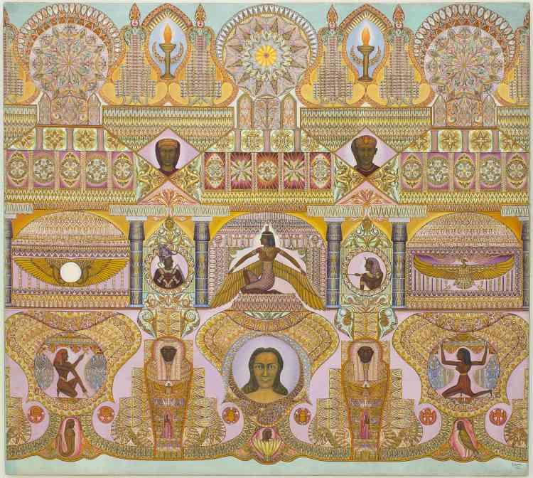 «Simon peint cette toile en 1941, après sa libération à la suite de son emprisonnement pendant son engagement militaire. Se lisant de bas en haut, elle illustre l'élévation de l'âme humaine, du tangible vers le divin. Elle est construite à partir d'éléments archéologiques que Simon réinterprète. Au centre, la déesse Isis ailée fait la transition entre les deux registres de la composition. Pour la peindre, Simon s'est inspiré du sarcophage de Ramsès III conservé au Louvre.»
