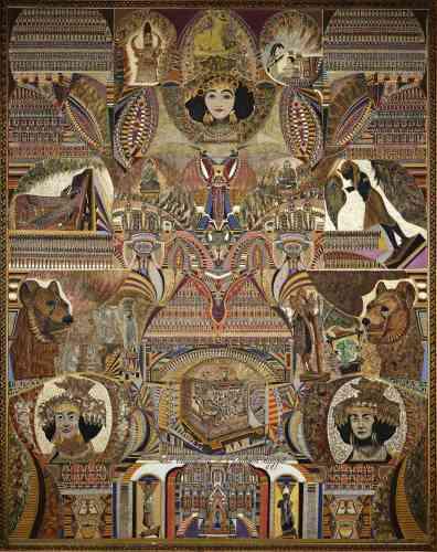 «Les mystères de l'antique Egypte est l'une des premières toiles d'Augustin Lesage à intégrer des figures. Puisant son inspiration dans des publications archéologiques, l'artiste entremêle les sources. On retrouve ici des objets découverts à la suite de fouilles de la tombe de Toutânkhamon et de la nécropole royale en Irak. L'image de la tête de la Puabi, reine ou prêtresse sumérienne, ornée de ses bijoux, apparaît à trois reprises dans la composition. Fasciné par cette figure, Lesage la représente dans une quinzaine de toiles.»
