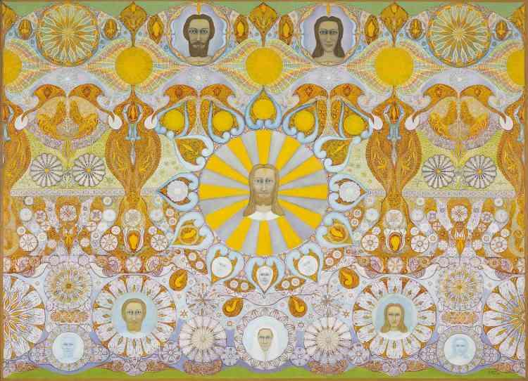 """«Dernière grande composition de Simon, """"La Toile jaune"""" illustre la théorie très complexe qu'il élabore sur les différents états de l'esprit : astral, mental et causal. Accompagnant son travail pictural de nombreuses publications notamment du journal """"Forces spirituelles"""" qu'il fonde en 1947, Simon a fourni quelques explications sur les éléments symboliques de sa composition. Au centre, il donne au Moi éternel, ultime phase de l'évolution spirituelle, un visage christique. Celui-ci domine le corps mental intermédiaire figuré par un personnage voilé.»"""