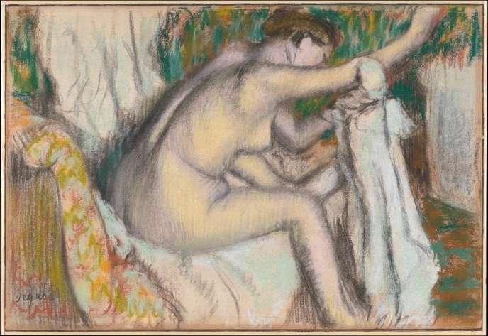 «Femme s'essuyant le bras droit»(1894). Une des 1900œuvres d'Edgard Degas référencées par Michel Schulman.