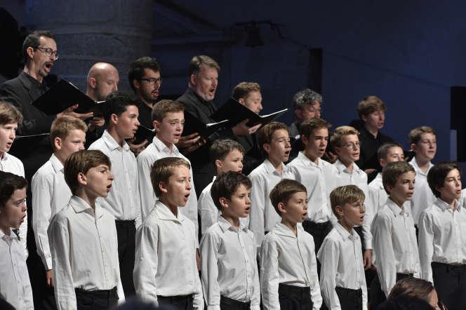 Lors du concert du chœur Spirito dirigé par Nicole Corti, au Festival d'Ambronay, le 15 septembre 2019.