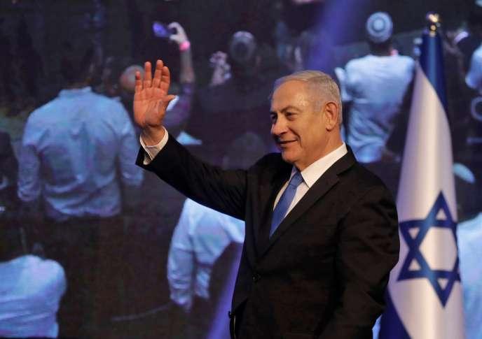 Benyamin Nétanyahouau siège de campagne du Likoud, après les résultats des premiers sondages, à Tel Aviv, le 18 septembre.