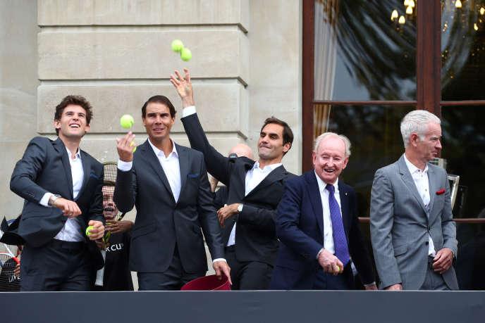 Dominic Thiem, Rafael Nadal, Roger Federer, Rod Laver et John McEnroe, lors de la présentation des équipes, à Genève, le 18 septembre.