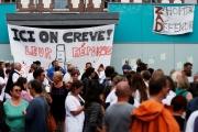 Manifestation à l'hôpital du Rouvray, à Sotteville-lès-Rouen (Seine-Maritime), en mai 2018.