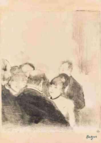 """«Entre 1876 et 1880, Degas réalise près de 80 monotypes, """"dessins à l'encre grasse etimprimés"""", liés aux nouvelles à succès de son ami Ludovic Halévy, """"Les Petites Cardinal"""" et """"Madame et Monsieur Cardinal"""". Ces récits des aventures sulfureuses dedeux danseuses poussées à la prostitution par leur mère, sous couvert de moralité, inspirent à Degas des œuvres qui renouvellent totalement le rapport du texte àl'image. »Leïla Jarbouai"""