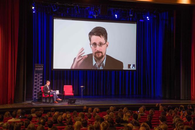 Edward Snowden présente son livre «Mémoires vives»lors d'une vidéoconférence le 17 septembre 2019, à Berlin.