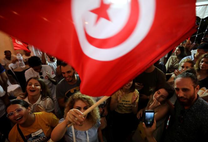 Partisans du candidat Nabil Karoui à Tunis, le 15 septembre 2019, lors du premier tour de la présidentielle.