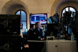 A la Bourse de New York, le 18 septembre, au moment du discours du président de la Réserve fédérale américaine, Jerome Powell.
