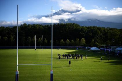 L'équipe de France à l'entraînement le 16 septembre, àFujiyoshida, avant le début de la Coupe du monde.