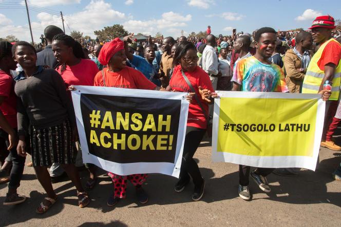 Manifestation contre la réélection du président Peter Mutharika, le 4 juillet 2019 à Lilongwe, au Malawi.