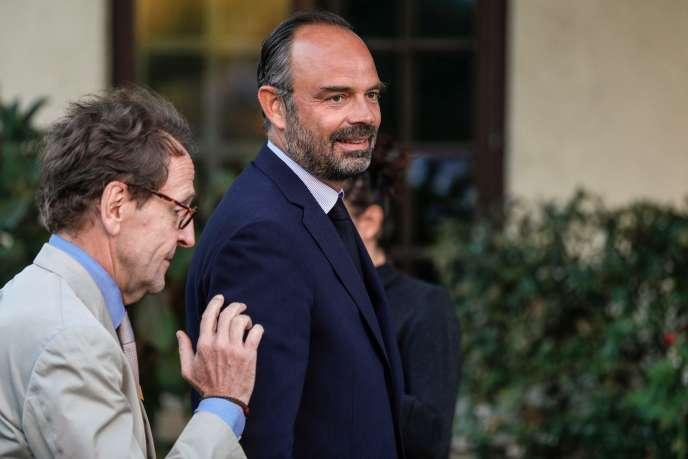 Gilles Le Gendre et Edouard Philippe se rendent à la journée parlementaire des députés LRM à Saint-Denis, le 19 septembre.