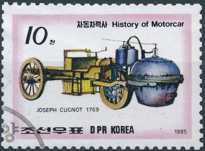 Un timbre de Corée du Nord, sur le fardier de Cugnot, en 1985.