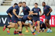 Le XV de France lors d'une séance d'entraînement à Tokyo, le 19septembre, avant la rencontre face à l'Argentine samedi 21.