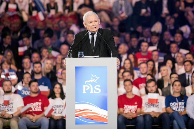 Le dirigeant du parti Droit et justice (PiS), JaroslawKaczynski, le 7 septembre lors de la convention de sa formation à Lublin.
