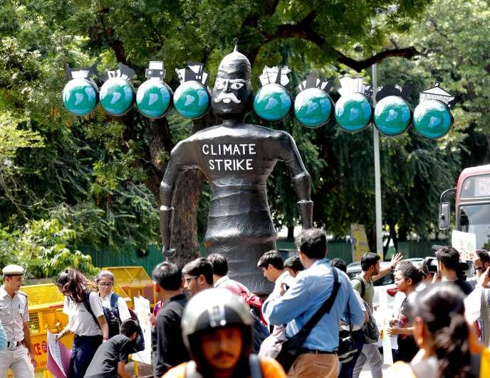 A New Delhi, lors du « Friday for future», mobilisation mondiale contre le réchauffement climatique, le 20 septembre 2019.