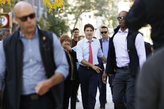 Justin Trudeau en visite à Winnipeg au Manitoba (Canada), le 19 septembre.