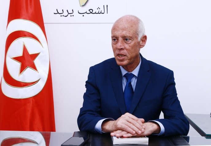 Le juriste conversateur Kaïs Saïed est arrivé en tête lors du premier tour de l'élection présidentielle du 15 septembre. Ici, à Tunis, le 16 septembre 2019.