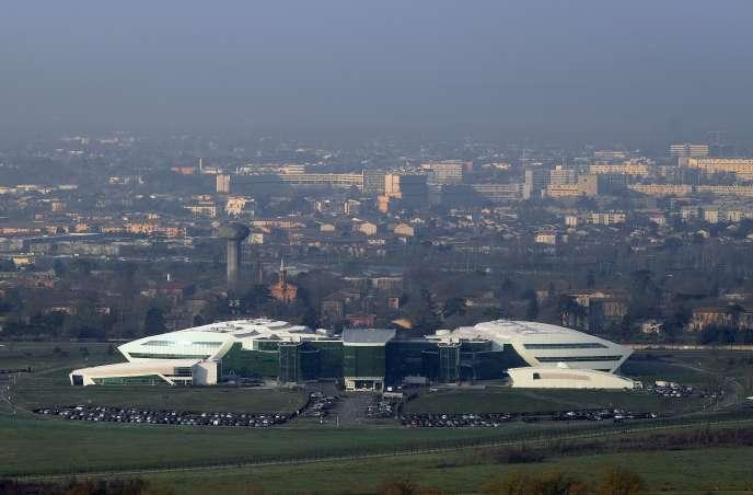 Vue de l'Oncopole de Toulouse (ici en janvier 2017), d'où partira le futur téléphérique urbain, qui sera le plus long de France.