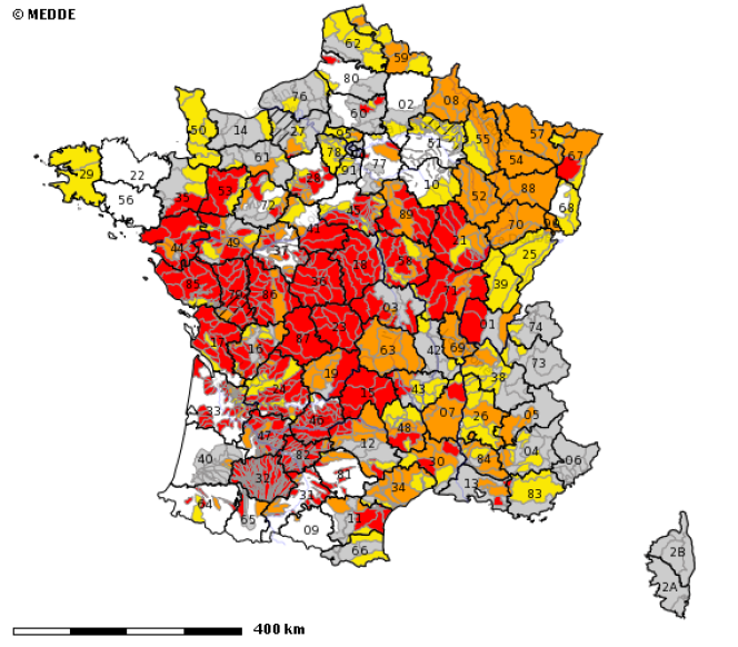Carte des restrictions d'eau en France métropolitaine au 20 septembre 2019.