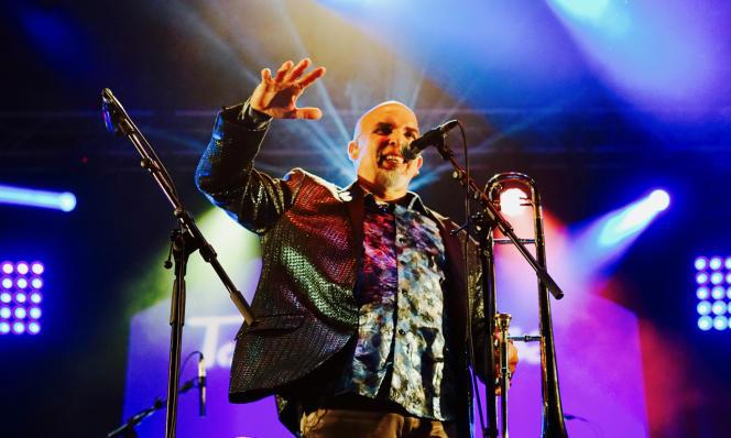 Le tromboniste Jimmy Bosch le 6 septembre 2019 au festival Toros y salsa (Dax).