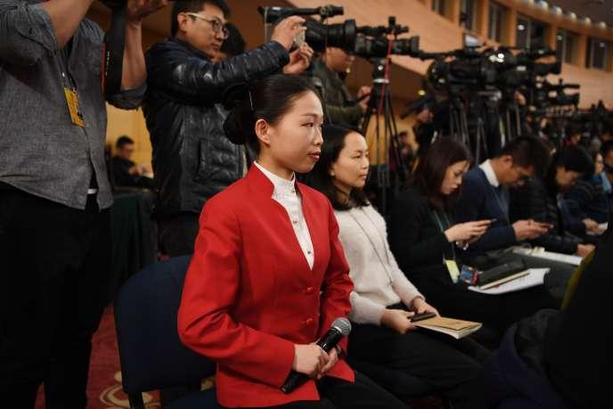 Des journalistes chinois, en mars 2018 à Pékin.