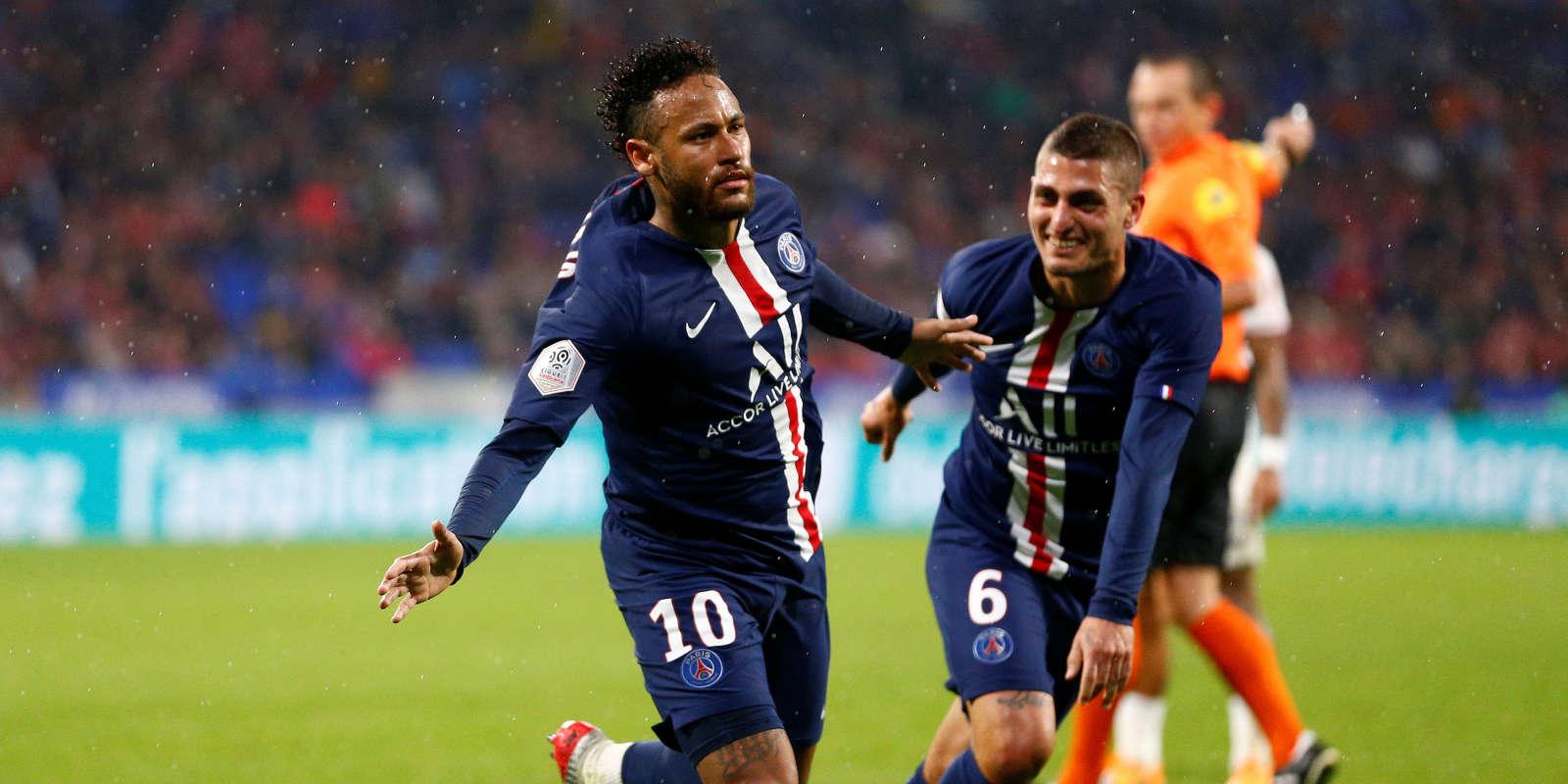 Neymar après son but contre l'OL, le 22 septembre 2019.