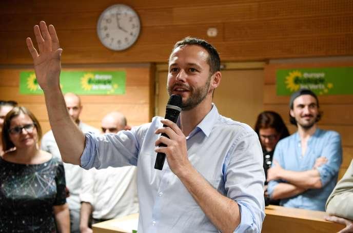 David Belliard, alors qu'il vient d'être désigné comme tête de liste d'Europe Ecologie-Les Verts pour les élections municipales à Paris, le 1er juin.