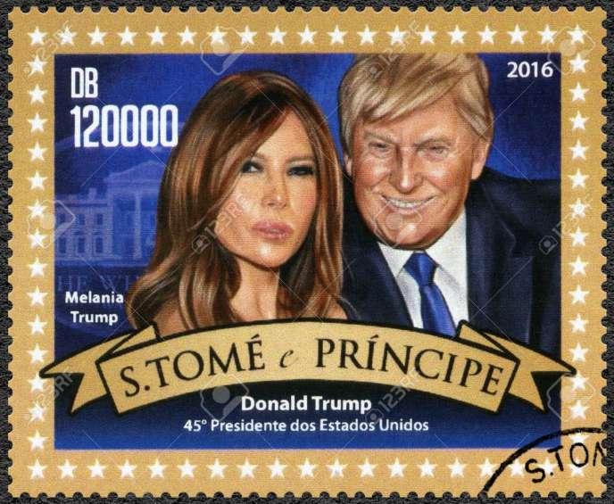 Donald et Melania Trump ( née Melanija Knavs le 26 avril 1970 à Novo Mesto, en Slovénie)timbre de Saint-Thomas-et-Prince.