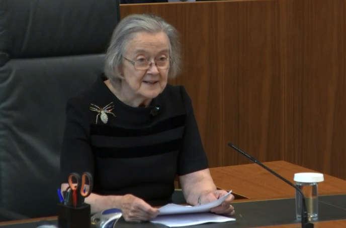 La présidente de la Cour suprême britannique, Brenda Hale, le 24 septembre à Londres.