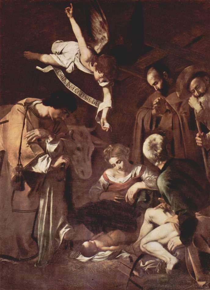 «La Nativité» avec saint François et saint Laurent, tableau peint par le Caravage en 1609.