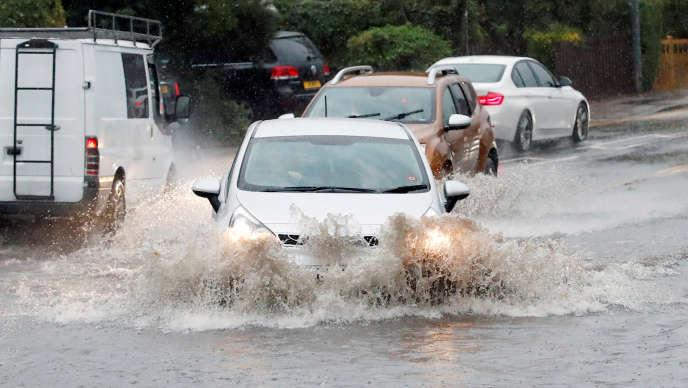 Inondations à Milton Keynes, Angleterre, en septembre 2019.
