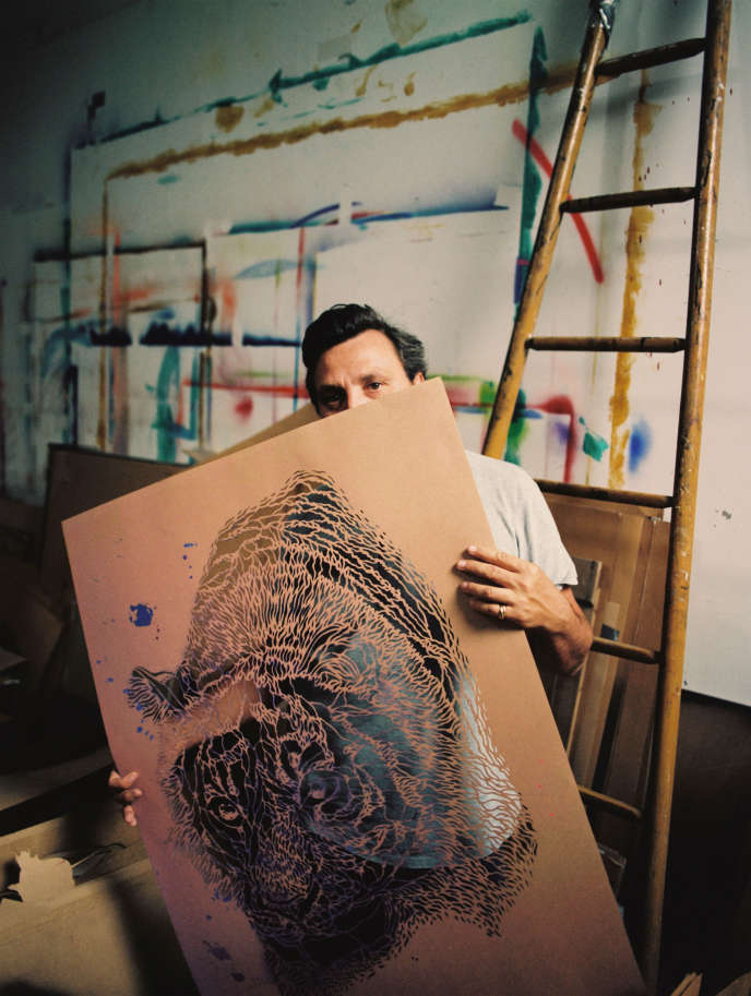 Christian Guémy, alias C215, dans son atelier à Ivry-sur-Seine, le 16 septembre 2019.