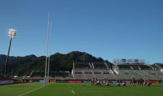 L'équipe d'Uruguay s'entraîne auKamaishi Recovery Memorial Stadium, le 24 septembre 2019.